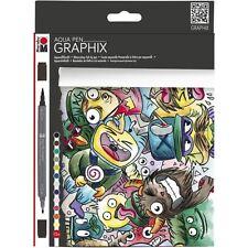Marabu Aqua Marcador Pluma Graphix Conjunto Manga Acuarela Dibujo 12 pack-Mega Mash