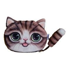 Women Cat Face Design Zipper Coin Case Makeup Purse Bag Pouch Wallet QUE