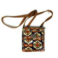 FOSSIL Key-Per Floral Coated Canvas Crossbody Messenger Bag Purse Medium