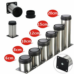 4x Adjustable Cabinet Legs Stainless Steel Kitchens Feet Rounds Stand Holders UK