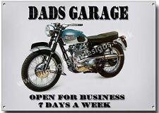Dads GARAGE in metallo segno, vintage moto, garage, TRIUMPH BONNEVILLE.