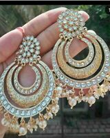 Latest South Indian Traditional Ethnic Peach Chand Bali Earrings Fashion Jewelry