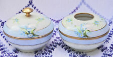 Antique W A Pickard China Company Dresser Jar & Hair Receiver - Blue w Flowers