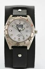 Relic Watch Mens Sport Date Stainless Silver 30m Black Wide Leather White Quartz