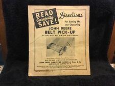 1942 John Deere Harvester Works Belt Pick-Up Manual 11A 12A Combines Dir289 2-42