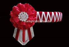 Browband Red and White sharktooth  by Starlight Browbands