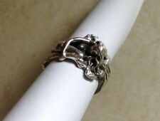 Solid Sterling silver handcarved Nude Mermaid lady woman ring size 7.5 handmade