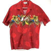 Pacific Legend Hawaiian Aloha Shirt Size Large Red Parrots Macaw Made In USA