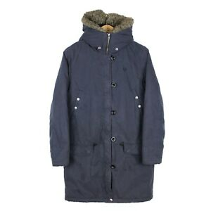 Fred Perry Womens Full Zip Blue Warm Parka Fur Hooded Coat Mod - Size UK 10