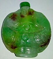 Chinese Hand Carved Jadeite Snuff Bottle with Two Carp Fish 5.7 cm high
