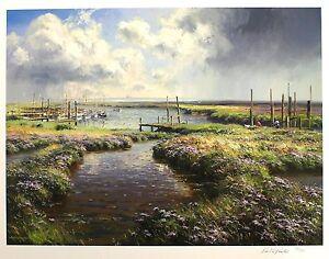 "REX PRESTON ""Passing Storm"" boats mooring SIGNED LTD ED SIZE:56cm x 70cm NEW"
