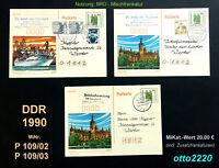 DDR, 1990, Ganzsachen, MiNr. P 109/02, P 109/03, gestempelt; Nutzungsvariant