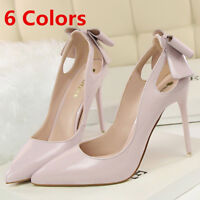 Women Pumps Pointed Toe Sweet Big Bow Stilettos High Heels Party Ladies Shoes