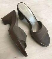 Stuart Weitzman Womens 10 M Tan Slides Comfort Sandals Heels Shoes