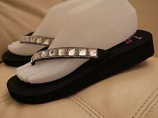 NEW WOMEN'S JELLYPOP FLIP FLOP WEDGE SANDALS BLACK BLING RHINESTONES SIZE 8,9,10