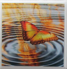 New listing Handmade Natural Stone Ceramic Tile Drink Coasters -Set of 4 - Butterfly 7B