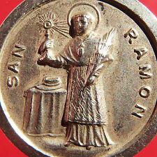 LARGE ST RAYMOND SILVER MEDAL OLD CATHOLIC PATRON SAINT OF PREGNANT WOMEN CHARM