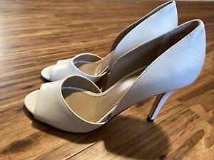 Lands End Womens Shoes Peep Toe Dorsay Pumps Eggshell 8