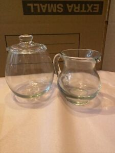 Clear Glass Cream Pitcher And Sugar Bowl