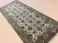 """Persian Oriental Rug Wide Runner Agra Hand Knotted Beige Green 4'.2"""" X 9'.11"""""""