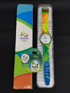SWATCH OLYMPIC SPECIAL RIO2016 VOLUNTEER GZ705 IN BOX + OFFICIAL PIN OLYMPIC