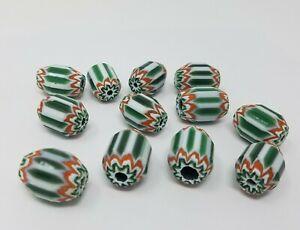 12 Pièces Grand Vert 5 Superposé Verre Chevron Craft Bijoux Perles Fabriqué En