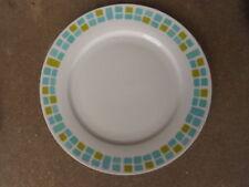 "ROYAL NORFOLK 10 5/8"" DINNER PLATE Modern Aqua Green Squares"
