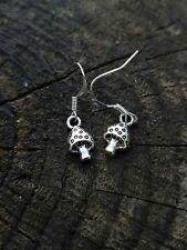 Handmade Silver Mushroom Shroom Toadstool Earrings Alice in Wonderland Earrings