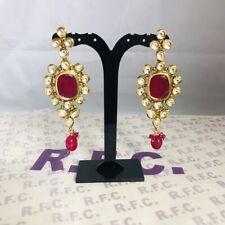 Gold ruby kundan bali earrings Indian Bridal mehndi Pakistani party handmade