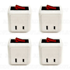 4x Single Outlet Wall Tap Adapter W Lighted Switch Power On/Off Control (WHITE)