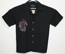 BARFLY Men's Black Sin City Metal Dice Buttons Embroidered SS Shirt Size M EUC