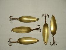 "9 Vintage ""R R"" Brass Fishing Spoons"