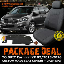 Kia Carnival YP Custom SEAT COVERS 3ROWs + DASH MAT FEB/2015-2018 S Si SLi CHARC