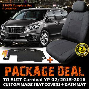 Kia Carnival YP Custom SEAT COVERS 3ROWs + DASH MAT FEB/2015-2018 S Si SLi CHARC