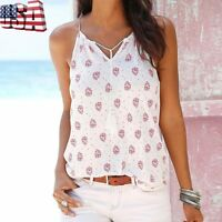 Boho Women Summer Sleeveless Chiffon V Neck Vest Tank Tops Loose Blouse T-shirt