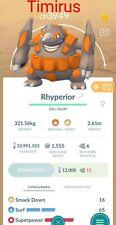 Level 50 Rhyperior! Go Pokemon! Bonus Free 5 Random Shiny! 3 Million XP! 15 hour