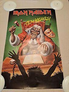 Vintage 1990 Iron Maiden Ten Years The Judge Poster Derek Riggs