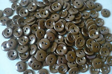 100 Vintage Small Brown Plastic Buttons. 11mms. New Old Stock