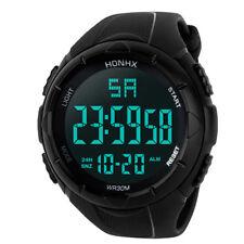 Luxury Men Analog Digital Military Army Sport LED Waterproof Wrist Watch BK