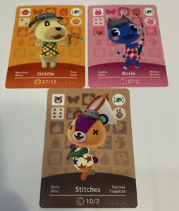 Goldie Rosie Stitches Animal Crossing New Horizons Amiibo Card AUTHENTIC Lot