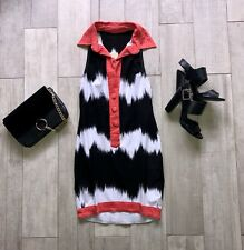 ~ NEW WOMENS DRESS ~ BLACK WHITE RED ~ BODYCON MINI 10