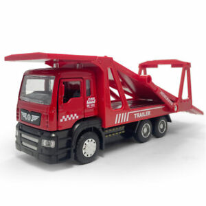 1:50 Trailer Vehicle Carrier Model Car Diecast Kids Toy Gift Sound Light Red