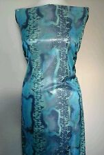 "Shiny Snake Skin Wet Look Foil Stretch Dance Fabric Material 60"" BLUE"