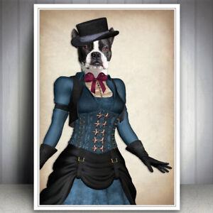 BOSTON TERRIER DOG VINTAGE STEAMPUNK HIPSTER DAPPER PRINT PICTURE VINTAGE ART