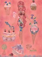 MERMAID ANGEL FAIRY SEA ICE CREAM SODA SHOP DOLPHIN NAUTICAL SURREALISM PAINTING