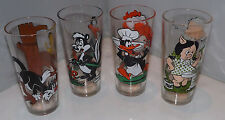 Set of 4 Pepsi 1976 Looney Tune Glasses - Porky, Daffy, Taz, Sylvester, Pepe
