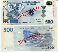 CONGO 500 FRANCS 2002 P 96 PC-H SPECIMEN AUNC
