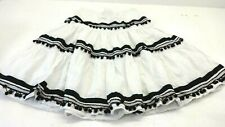 WILLI SMITH WOMENS WHITE TIERED POM POM PEASANT SKIRT SIZE 10 SUPER CUTE!
