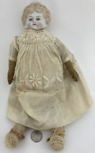 """Antique 14"""" China Head Doll Curly Top GERMAN CIVIL WAR EAR From 1800s👀 Blonde"""