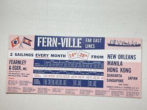 Vintage Fern-Ville Far East Lines New Orleans Manila Singapore Ink Blotter